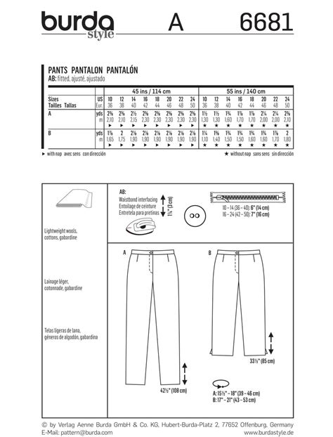 regex pattern length burda 6681 misses pants