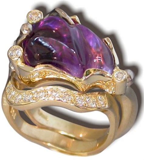 gem carving carved amethyst ring