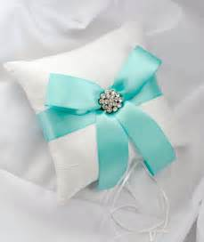 blue wedding ring bearer pillow white by
