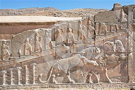 key themes in persepolis bas relief with symbols of zoroastrians fighting bull