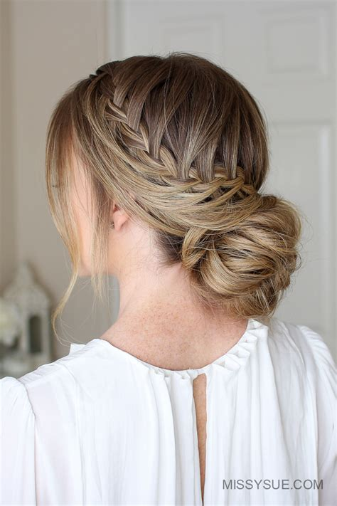 Low Bun Hairstyle by Looped Braid Low Bun Fsetyt