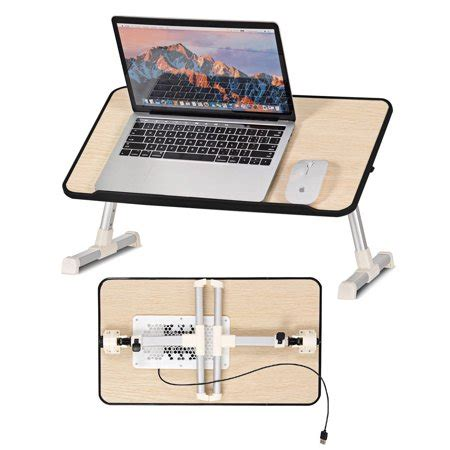 costway portable lap desk folding laptop computer table adjustable bed tray stand  fan