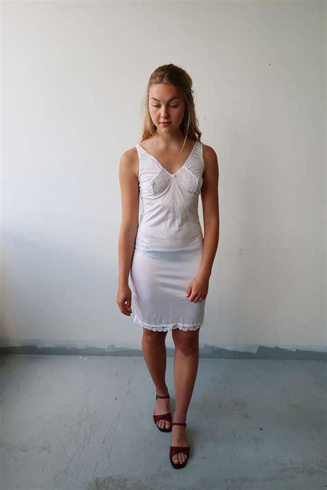 Satin Sale sale vintage white satin slip dress by damselflygoods