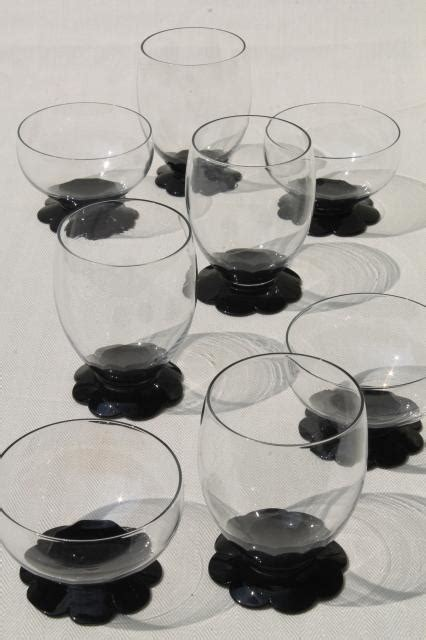 vintage ebony black clear glass tumblers sherbets weston lily pad waterlily flower foot