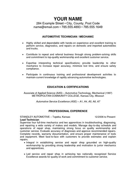 auto mechanic resume templates resume exles templates best automotive technician