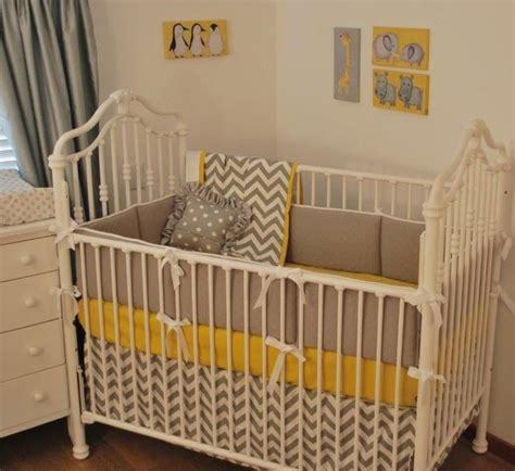 yellow nursery bedding grey chevron and yellow crib bedding yellow in the