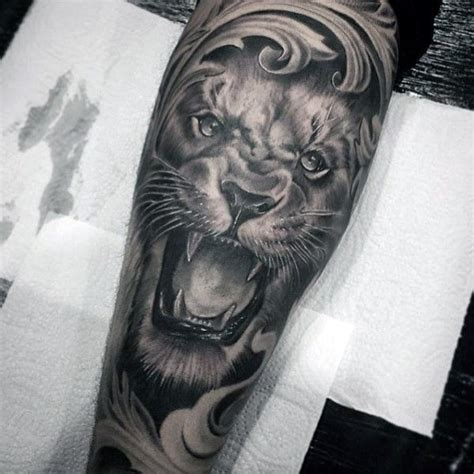 forearm lion tattoo filigree mens forearm sleeve tattoos cool sleeve