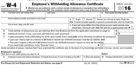 sle of w4 form new w 4 2016 form linkedin