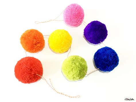 Rainbow Pompom create 30 no 12 rainbow pom pom garlands eliston button