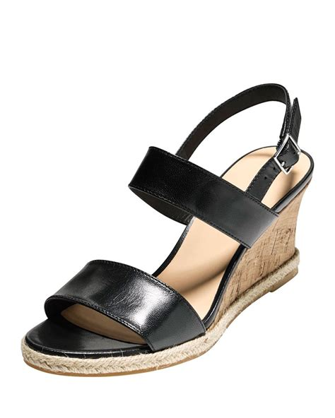 cole haan black wedge sandals lyst cole haan leather wedge sandal in black