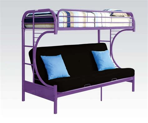 purple bunk beds purple finish metal c shape futon bunk bed