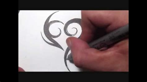 drawing a simple spiky tribal heart tattoo design youtube