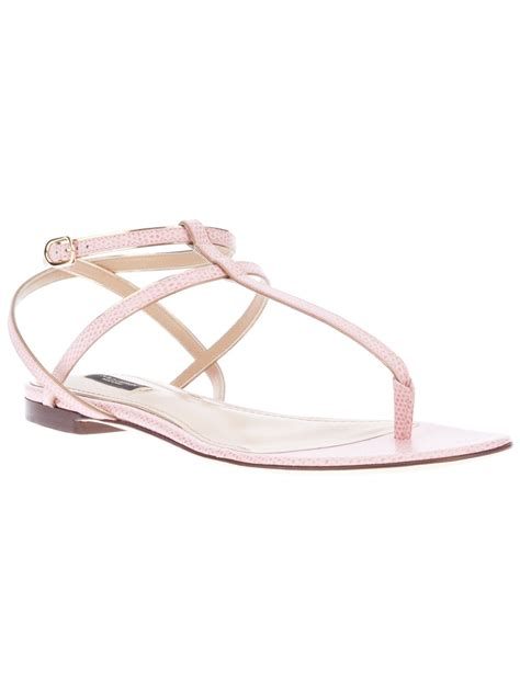 pink flat sandals lyst dolce gabbana flat strappy sandal in pink