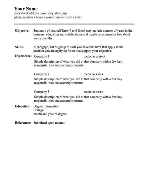 Simple Resumes by Simple Resume Format Whitneyport Daily