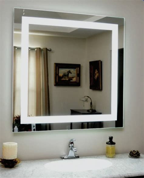 backlit square bathroom mirror  led border luxe mirrors
