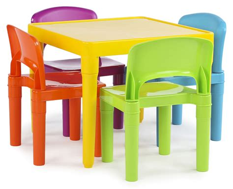 kids table and bench set tot tutors kids plastic table and 4 chairs set vibrant colors