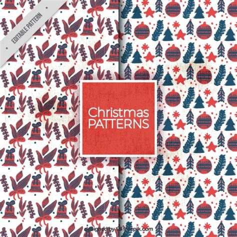 retro christmas pattern vector free hand painted christmas elements vintage patterns vector