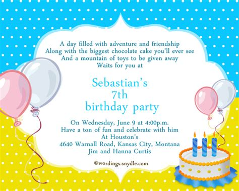 7th birthday invitation wording wordings and messages - Children S 7th Birthday Invitation Wording