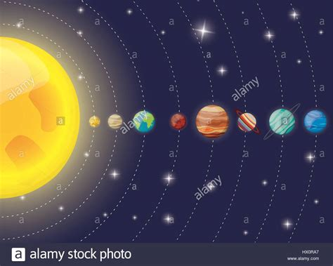 solar system planets sun diagram stock vector