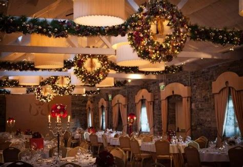 banquet hall dressed  christmas  wreaths candles
