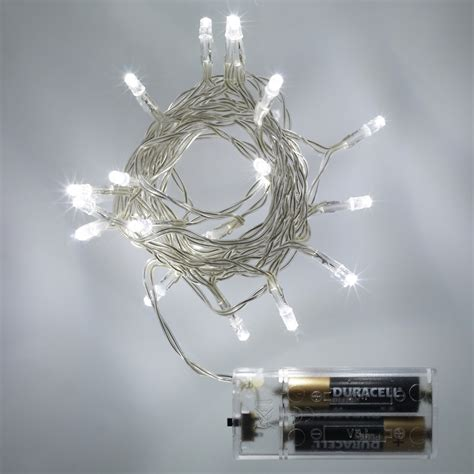 20 Led White Battery Operated Fairy Lights Static Battery Powered Lights