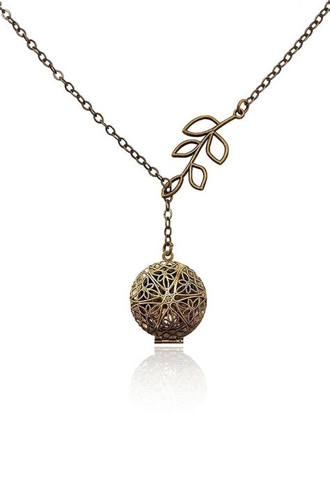 oil diffuser necklace unique tree branch drop bronze tone brass tone