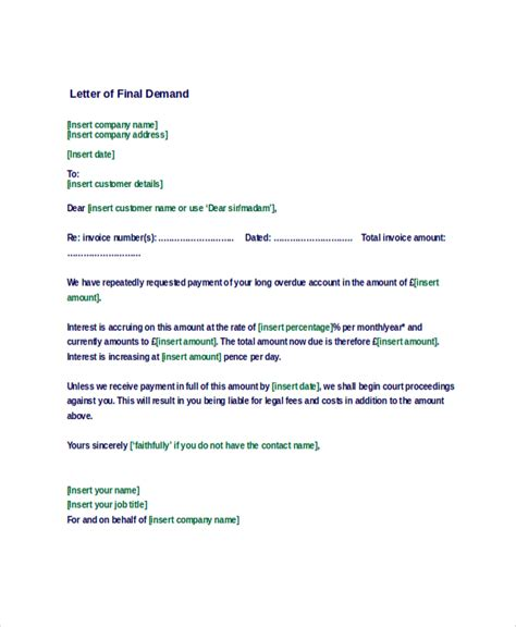 demand notice template sle demand letter 7 documents in pdf word