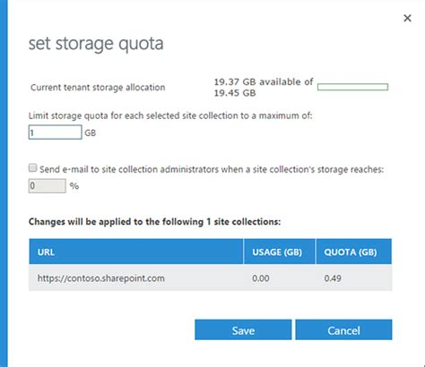 Office 365 Outlook Quota Manage Site Collection Storage Limits Office Support