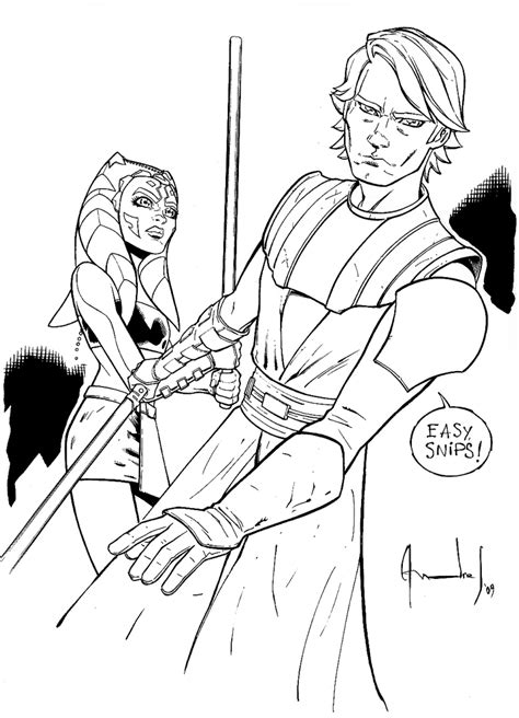 coloring pages ashoka anakin and ashoka by ultimaterubberfool on deviantart