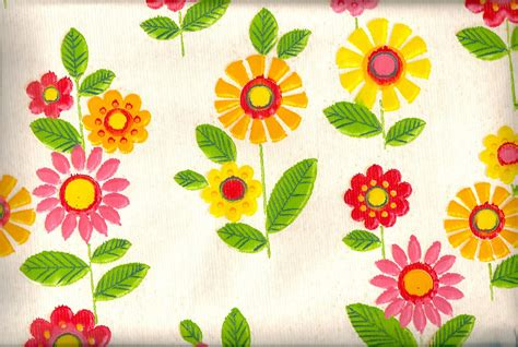 Pomme de Jour Blog: Vintage 1970s Wallpaper   Pink, Yellow and Red Flowers