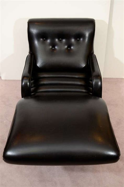 Black Leather Chaise Lounge Mid Century Reclining Chaise Lounge In Black Leather At 1stdibs