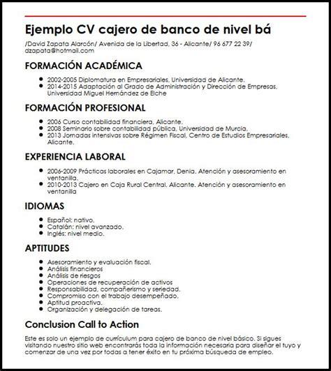 Ejemplo De Curriculum Basico Experiencia Ejemplo Cv Cajero De Banco De Nivel Basico Micvideal