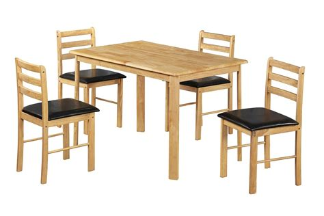 Rubberwood Dining Table Solid Wood Dining Table Dining Chair Set Rubberwood 4 Black Pu Seats Ebay
