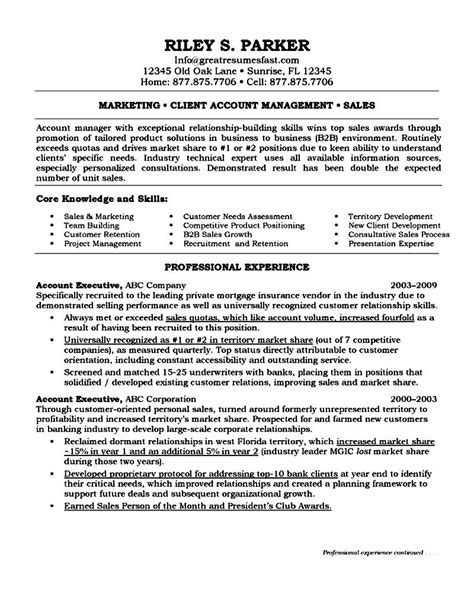 executive resume objective exles account executive resume objective free sles