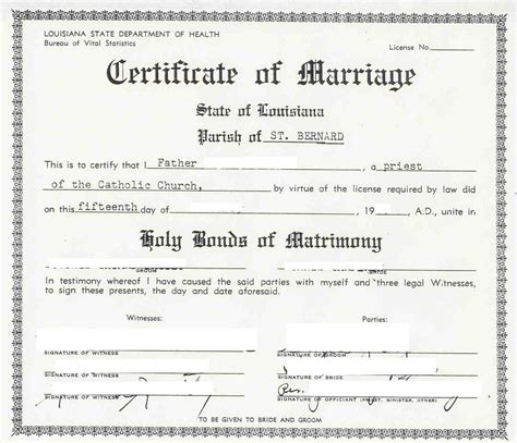 Louisiana Birth Records 9 Best Images Of Sle Marriage Certificate Sle