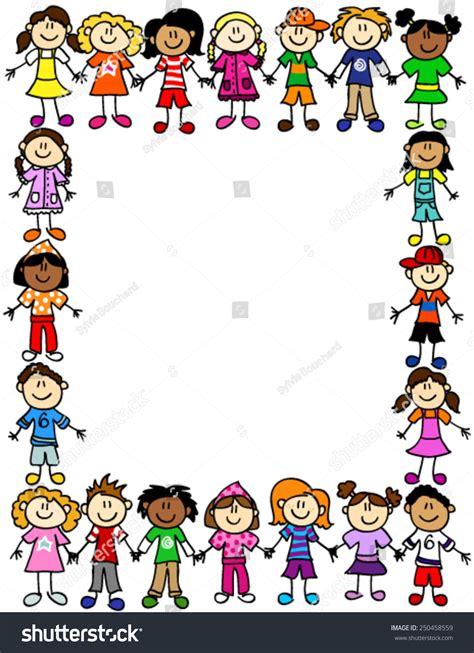 design photo cartoon frame page border cute kid cartoon stock vector 250458559