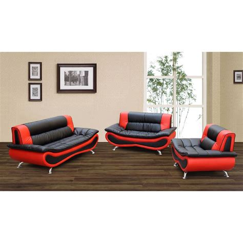red and black couch set black red modern 3 piece leather sofa set