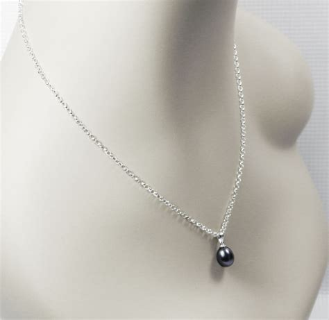black pearl pendant single black pearl necklace