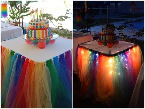 rainbow tulle table skirt creative ideas