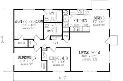 floor plan for a 940 sq ft ranch style home ranch style house plan 3 beds 2 baths 1040 sq ft plan 1 148