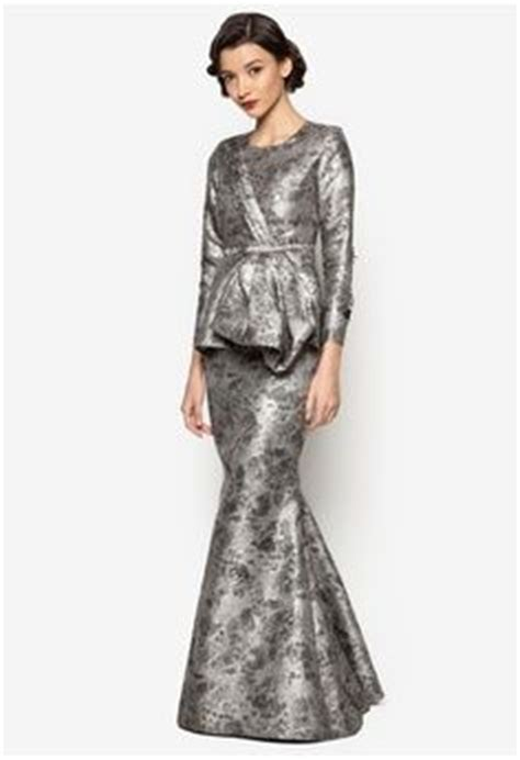 Baju Pesta Zalora kelsie baju kurung from jovian mandagie for zalora in grey 1 kebaya baju kurung