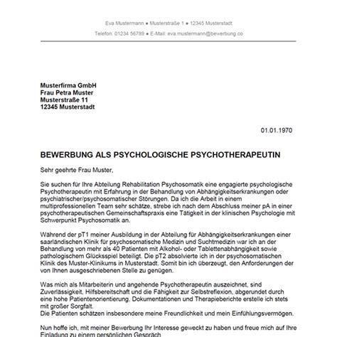 Bewerbungsschreiben Praktikum Soziale Arbeit Muster bewerbung als psychotherapeut psychotherapeutin