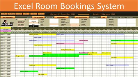 excel room bookings calendar youtube
