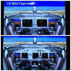 b737 max flight deck boeing unveils 737 max flight deck with large panels