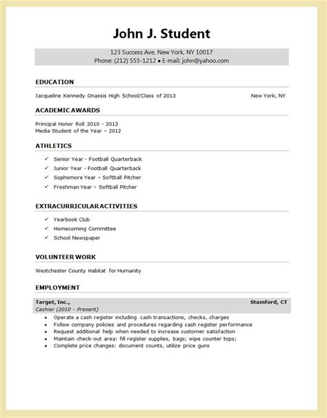 High School Senior Resume by High School Senior Resume For College Application