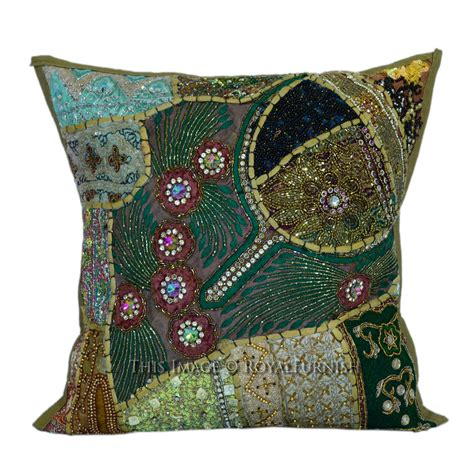 Handmade Decorative Pillows - 16x16 decorative handmade beaded sequin square pillow