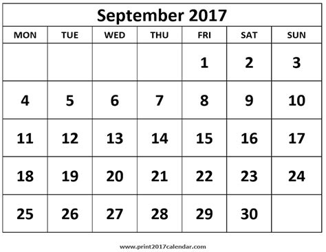 september  calendar printable template  holidays  calendar printables calendar