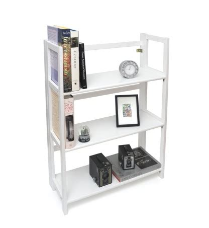 3 Shelf Folding Bookcase White Finish Lipper 3 Shelf White Bookcase