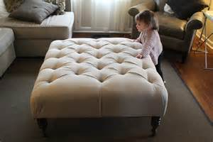 Make A Tufted Ottoman Large Square Tufted Ottoman Coffee Table With White Upholstered Cover And Wooden Legs On Gray