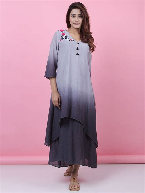 ombre double top grey buy grey ombre double layered cotton dress online at theloom